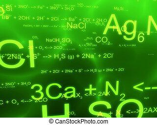 3d rendered illustration of formulas on a green background