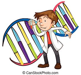 Illustration of a scientist and DNA