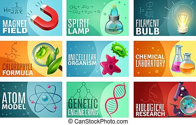 Science Illustration Set - Set of science isolated vector...