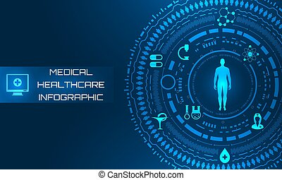 science, interface, système, fond, avenir, santé, hud, care., virtuel