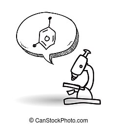 science, isolé, illustration, microscope, vecteur, icon., design.