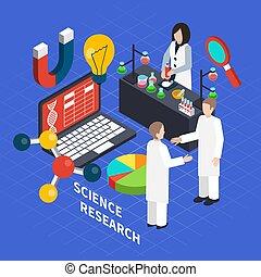science, isométrique, concept