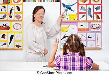 science, jeune, main, élémentaire, girl, classe, élévation