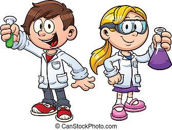 Science kids - Scientist kids. Vector clip art illustration ...