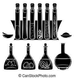 Science lab equipment black silhouettes