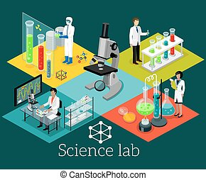 Science Lab Isomatric Design Flat - Science lab isomatric...