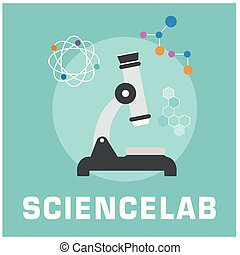 Science lab Microscope Circle Frame Background Vector Image