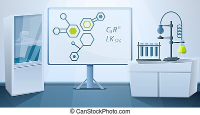 science lab with equipment vector illustration