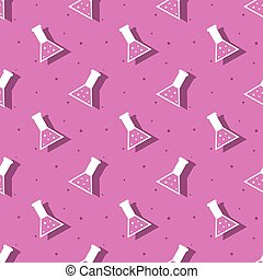 Science Laboratory Conical Flask Seamless Pattern Background