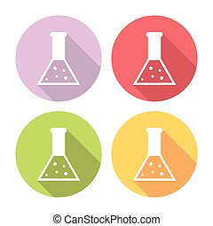 Science Laboratory Flask Flat Icons Set
