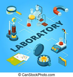 Science laboratory isometric. Biology or pharmaceutical lab with scientist workers vector 3d concept