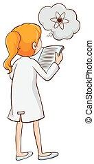 science, lecture fille, livre