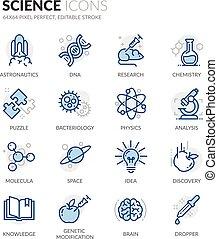 science, ligne, icônes