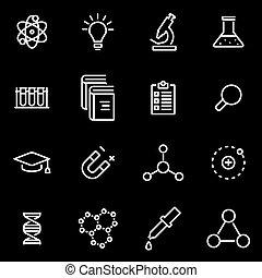 science, ligne, vecteur, ensemble, icône