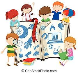 science, livre, enfants