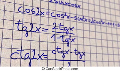 Science Mathematics Science Mathematics Formulas macro close up animation with shallow depth of field