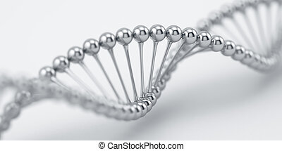 Science medical research concept - DNA chrome silver...