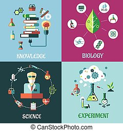 Science, medicine, biology and knowledge flat concepts -...