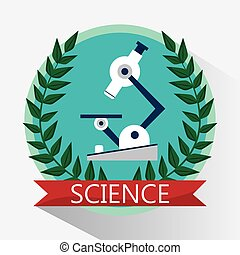 science microscope biology equipment emblem