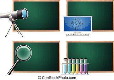 science, panneau, ensemble