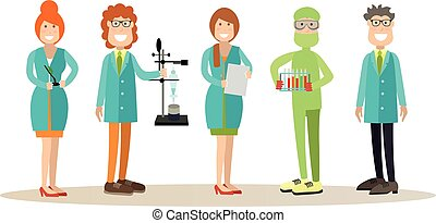 Science people concept vector illustration in flat style -...
