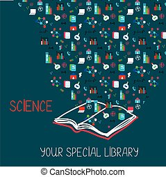 Science placard with book and information symbols - ...