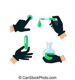 science, plat, substances., protecteur, illustration., docteur, nucléaire, concept., ou, style, vecteur, energy., scientifique, gants, médecine, tenant mains, biologie, gloves., hasardeux, latex