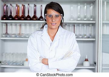 science, poser, étudiant féminin