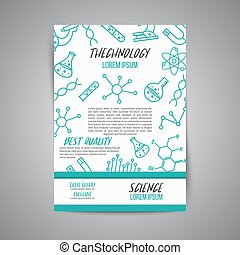 Science poster on white background. Research outline icon. Tiny line vector elements. Laboratory and education brochure.