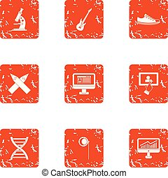 Science programme icons set, grunge style - Science...
