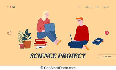 Science Project Website Landing Page. Man and Woman Students Sit on Floor with Books around and Laptops in Hands Watching Webinar and Learn Web Page Banner. Cartoon Flat Vector Illustration, Line Art