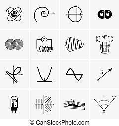 science, recherche, diagrammes, icônes