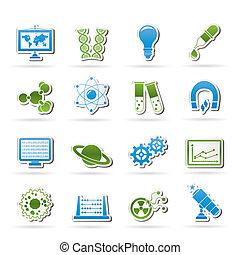science, recherche, icônes