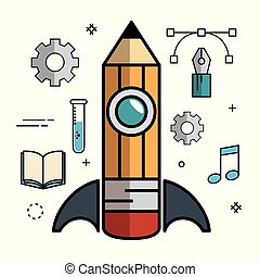Science-related objects design. - Pencil-shaped skyrocket...