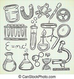 science, remplir, griffonnage
