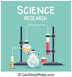 Science Research Chemical Laboratory Blue Background Vector Image
