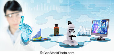 science research, concept background, 3d illustration