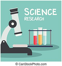 Science Research Microscope Test Tube Blue Background Vector Image