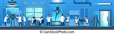 Science researching lab. People in white uniform create robot, researchers work on computers, doing modification tests, doctor and engineer scientist in laboratory, vector flat horizontal illustration