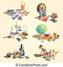 Science retro cartoon set