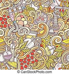 science, seamless, hand-drawn, modèle, doodles, dessin animé