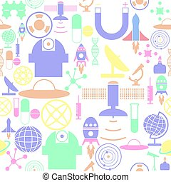 science seamless pattern background icon.