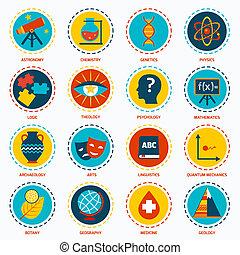 science, secteurs, icônes