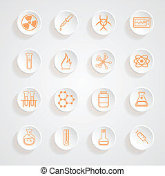 Science Series Icons button shadows  vector set