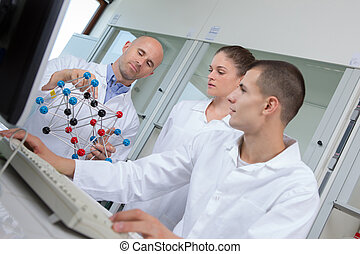 science students working in the lab at the university