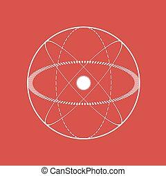 science, symbole, atomique, rouges