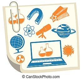 science, symboles, blanc, papier