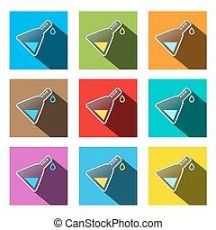 Science Symbols - Vector Colorful Test Tubes Set Illustration