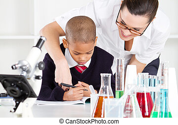 science teacher and pupil
