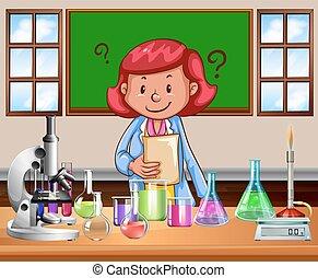 Science teacher doing the lab